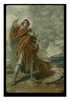 Erzengel-Michael-Bildchen mit geweihtem Michaelssalz