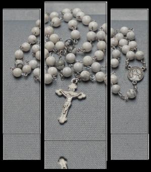 Rosenkranz – Naturstein marmoriert weiss